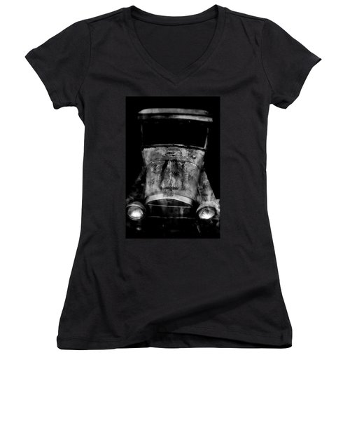 Old Cars Women's V-Neck T-Shirt (Junior Cut) featuring the photograph Ghost Of 1929 by Aaron Berg