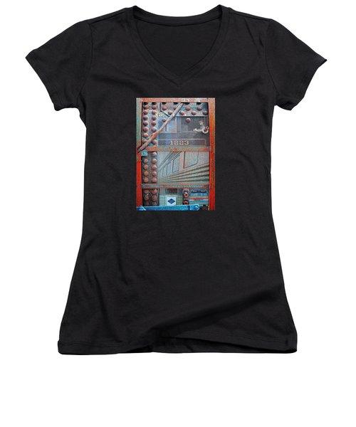 Ghosts Of The Railroad Women's V-Neck T-Shirt (Junior Cut) by Joseph J Stevens