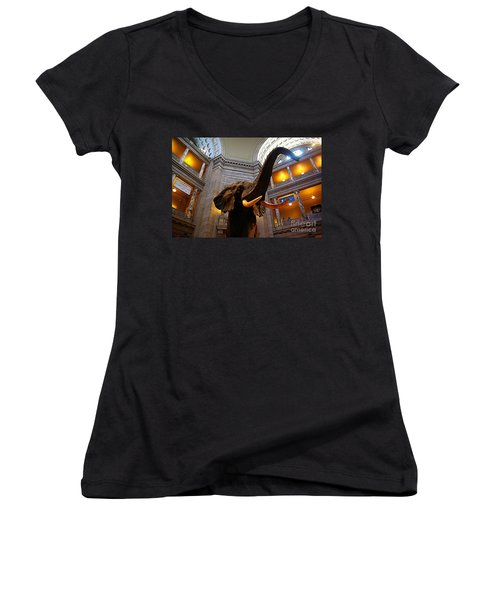 Women's V-Neck T-Shirt (Junior Cut) featuring the photograph Giant Elephant  by John S