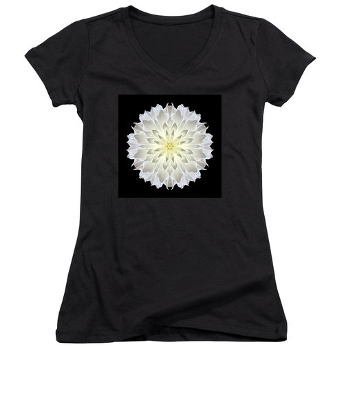 Giant White Dahlia Flower Mandala Women's V-Neck (Athletic Fit)