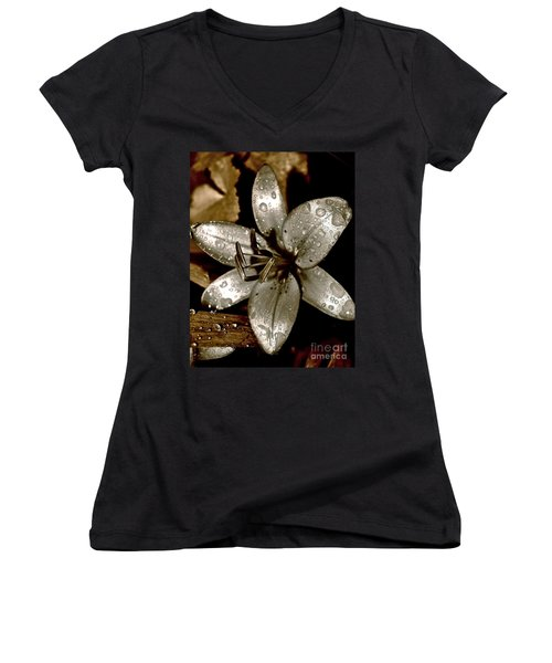 Women's V-Neck T-Shirt (Junior Cut) featuring the photograph Gilded  Lilies 2 by Linda Bianic
