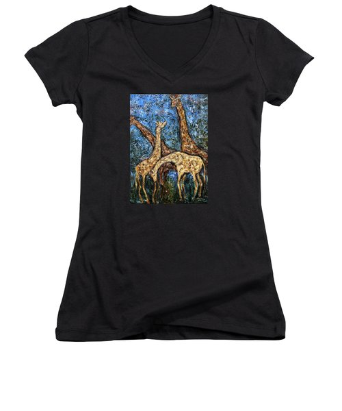 Giraffe Family Women's V-Neck (Athletic Fit)