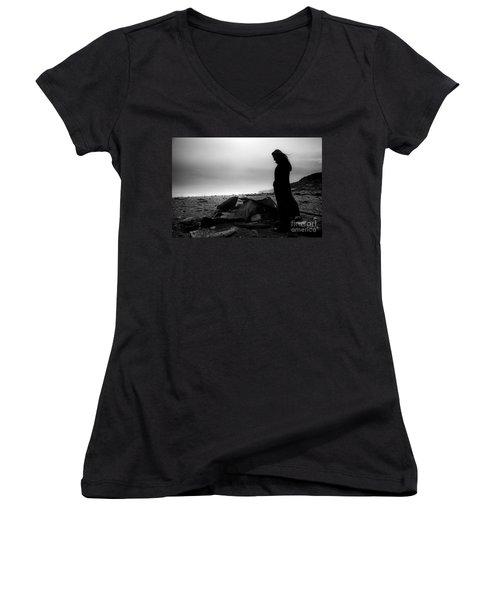Girl On The Beach Women's V-Neck T-Shirt