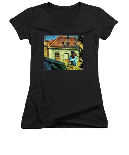 Girl Posing On Stone Wall Women's V-Neck T-Shirt (Junior Cut) by Jeff Kolker