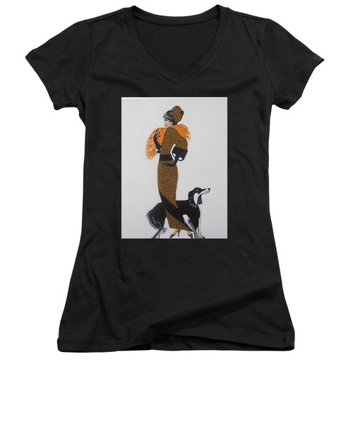 Women's V-Neck T-Shirt (Junior Cut) featuring the painting Girl With Orange Fur by Nora Shepley