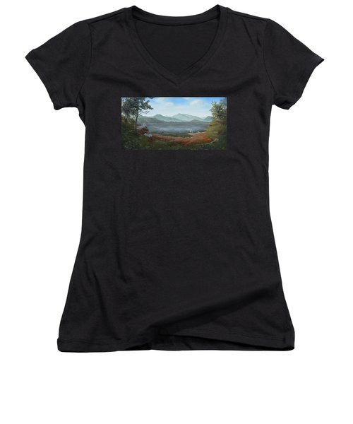 Girls Day Out Women's V-Neck T-Shirt (Junior Cut) by Duane R Probus