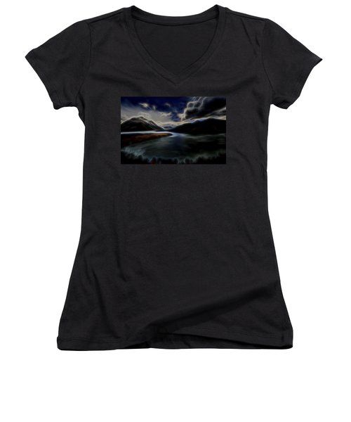 Women's V-Neck T-Shirt (Junior Cut) featuring the digital art Glacial Light 1 by William Horden