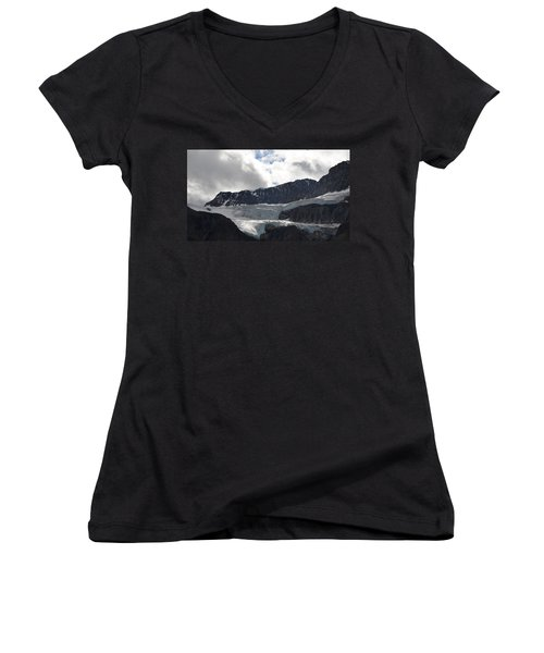 Glacial Mountain Women's V-Neck T-Shirt (Junior Cut) by Cheryl Miller