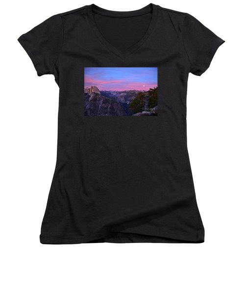 Glacier Point With Sunset And Moonrise Women's V-Neck T-Shirt