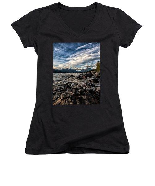 Glacier Whispers Women's V-Neck T-Shirt (Junior Cut) by Aaron Aldrich