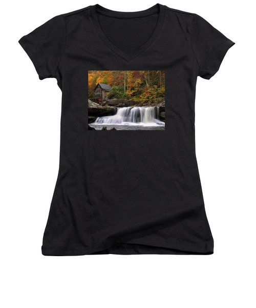 Glade Creek Grist Mill - Photo Women's V-Neck T-Shirt (Junior Cut) by Chris Flees