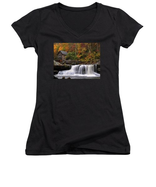 Glade Creek Grist Mill - Photo Women's V-Neck (Athletic Fit)