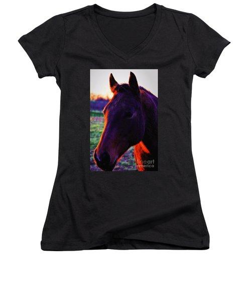 Glamour Shot Women's V-Neck T-Shirt (Junior Cut) by Robert McCubbin
