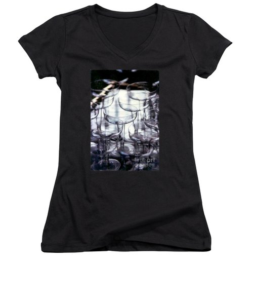 Women's V-Neck T-Shirt (Junior Cut) featuring the photograph New Orleans Toast To The New Year 2017 Abstract by Michael Hoard