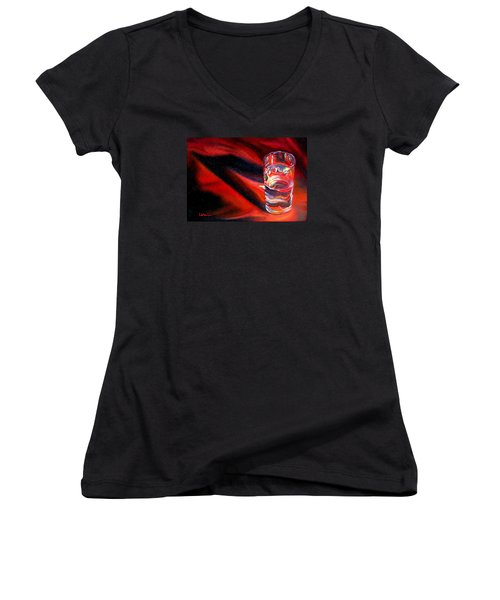 Glass Of Water On Red Women's V-Neck T-Shirt (Junior Cut) by LaVonne Hand