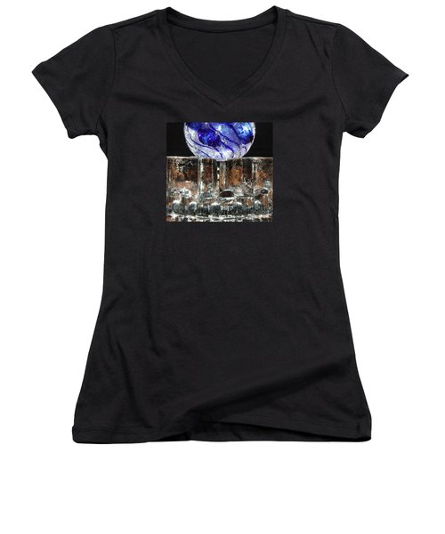 Glass On Glass Women's V-Neck T-Shirt (Junior Cut) by Jolanta Anna Karolska