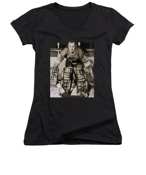 Glenn Hall Poster Women's V-Neck T-Shirt (Junior Cut) by Gianfranco Weiss