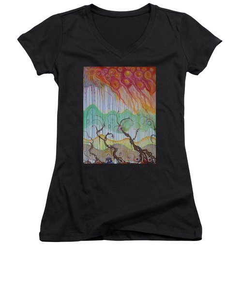 Women's V-Neck T-Shirt (Junior Cut) featuring the mixed media Climate Change, The Final Chapter by Douglas Fromm