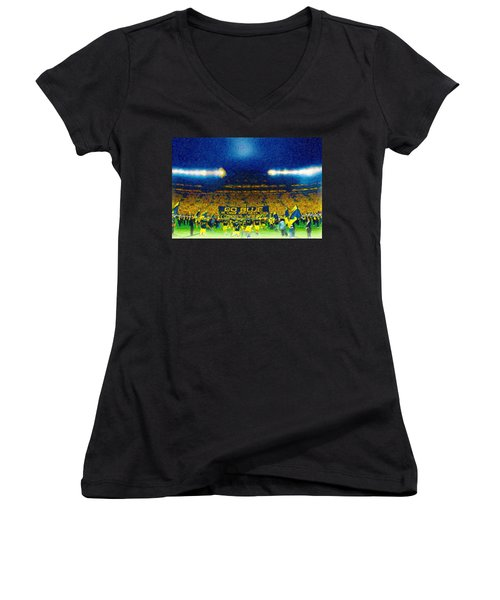 Glory At The Big House Women's V-Neck T-Shirt (Junior Cut) by John Farr