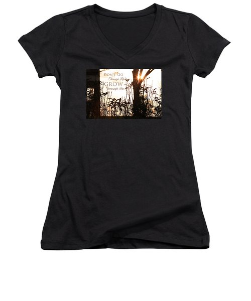 Glowing Landscape With Message Women's V-Neck