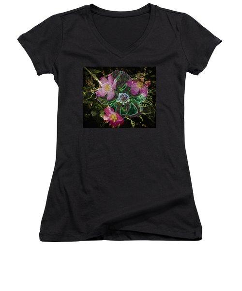 Glowing Wild Rose Women's V-Neck