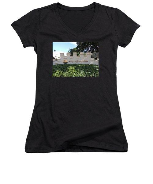Women's V-Neck T-Shirt (Junior Cut) featuring the photograph Gmc Milledgeville by Aaron Martens