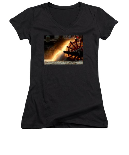 New Orleans Steamboat Natchez On The Mississippi River Women's V-Neck T-Shirt (Junior Cut) by Michael Hoard
