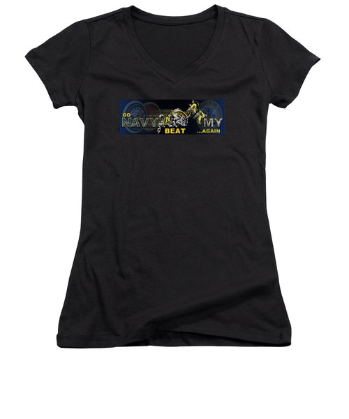 Go Navy Beat Army Women's V-Neck T-Shirt (Junior Cut) by Mountain Dreams