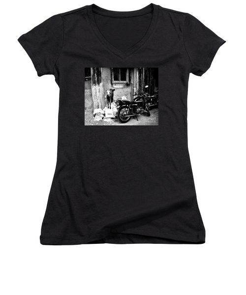 Goatercycle Black And White Women's V-Neck (Athletic Fit)