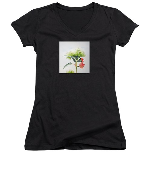 Flowering Gum Tree Women's V-Neck T-Shirt (Junior Cut) by Elvira Ingram