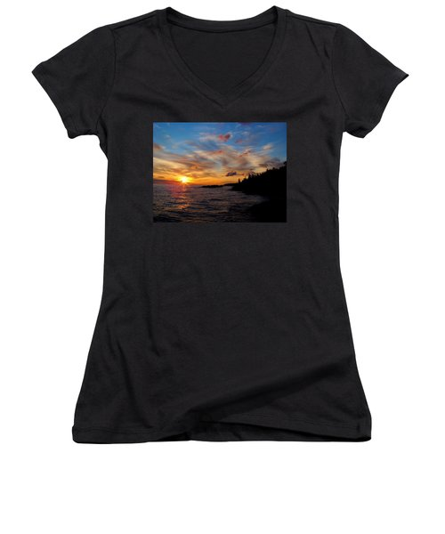 Women's V-Neck T-Shirt (Junior Cut) featuring the photograph God's Morning Painting by Bonfire Photography