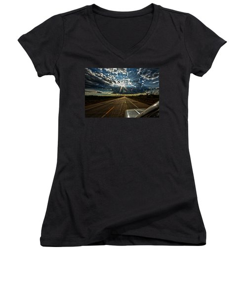 Going Home Women's V-Neck T-Shirt (Junior Cut) by Brian Duram