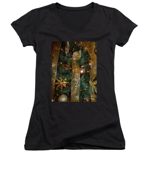 Gold Tones Tree Women's V-Neck (Athletic Fit)
