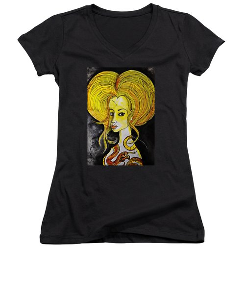 Women's V-Neck T-Shirt (Junior Cut) featuring the painting Golden Core by Sandro Ramani