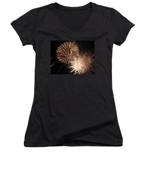 Golden Fireworks Women's V-Neck T-Shirt (Junior Cut) by Rowana Ray