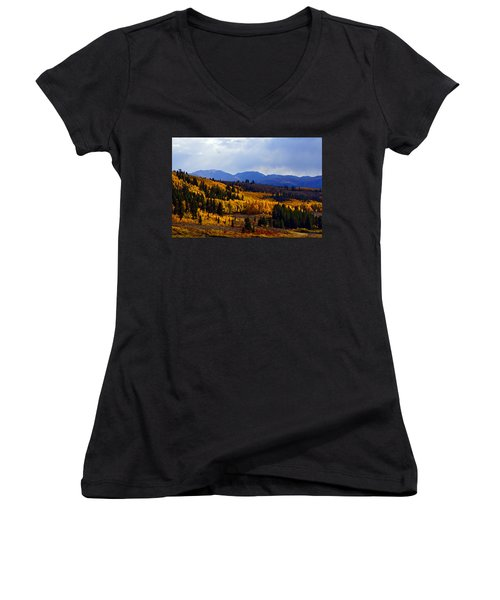 Golden Fourteeners Women's V-Neck T-Shirt (Junior Cut) by Jeremy Rhoades