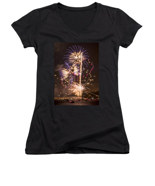 Golden Gate Bridge 75th Anniversary Fireworks 10 Women's V-Neck (Athletic Fit)