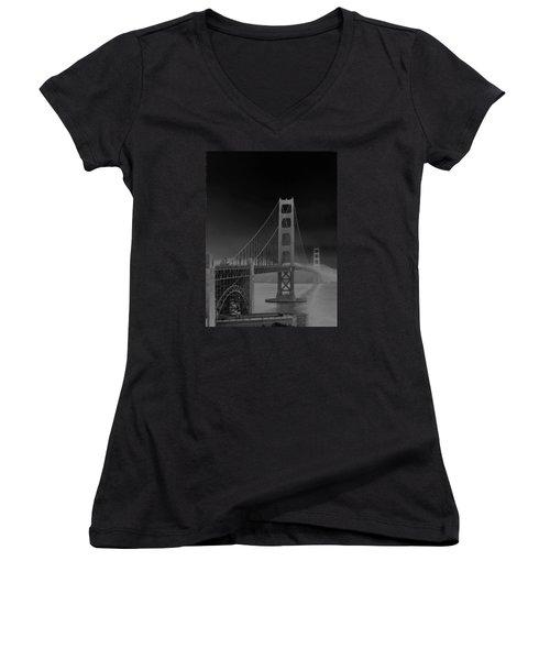Golden Gate Bridge To Sausalito Women's V-Neck T-Shirt (Junior Cut) by Connie Fox
