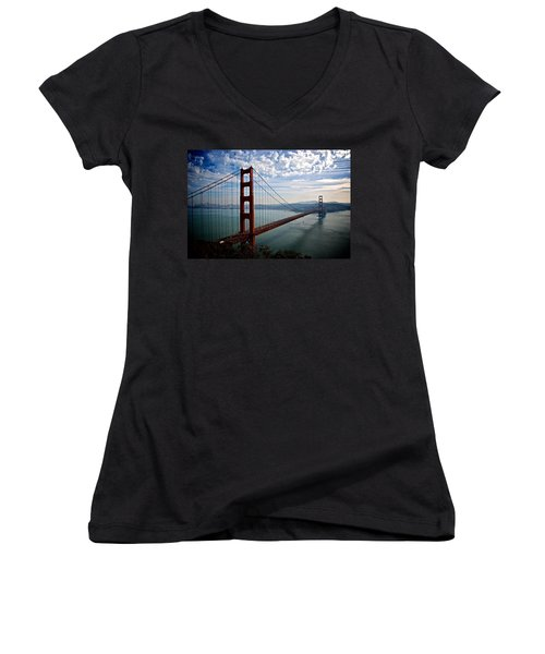Golden Gate Open Women's V-Neck T-Shirt (Junior Cut) by Eric Tressler