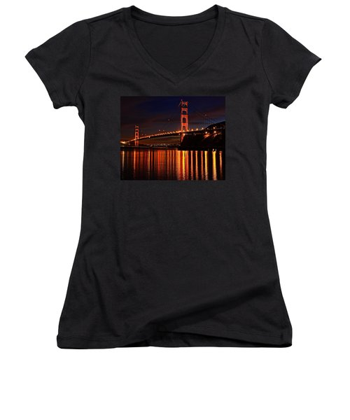 Golden Glory Women's V-Neck T-Shirt (Junior Cut) by Dave Files