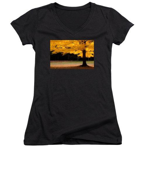 Golden Glow Of Autumn Fall Colors Women's V-Neck T-Shirt (Junior Cut) by Jeff Folger
