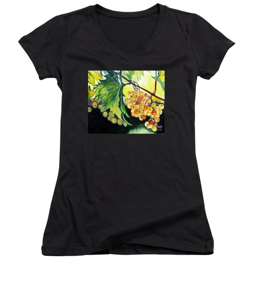 Women's V-Neck T-Shirt (Junior Cut) featuring the painting Golden Grapes by Julie Brugh Riffey