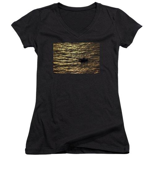 Women's V-Neck T-Shirt (Junior Cut) featuring the photograph Golden Ocean by Miroslava Jurcik