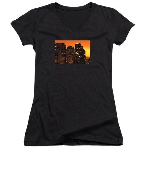 Women's V-Neck T-Shirt (Junior Cut) featuring the photograph Golden Orange Cityscape Dccc by Amyn Nasser