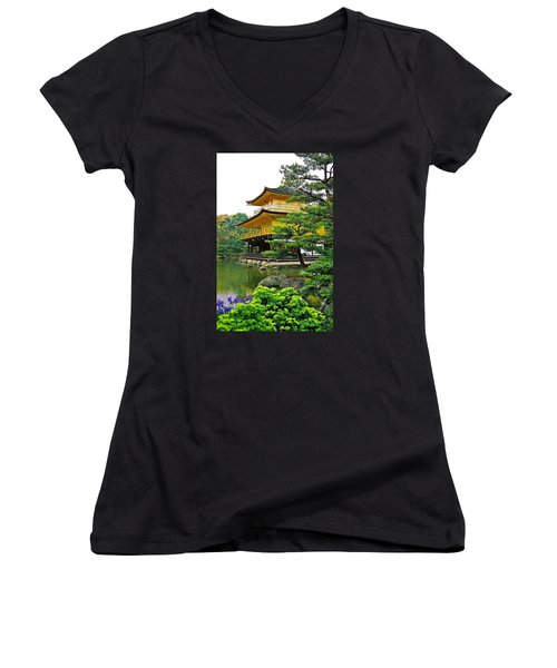 Golden Pavilion - Kyoto Women's V-Neck T-Shirt (Junior Cut) by Juergen Weiss