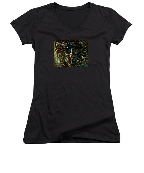 Golden Ripples Women's V-Neck T-Shirt (Junior Cut) by Lehua Pekelo-Stearns