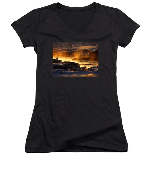 Golden Sea Smoke At Sunrise Women's V-Neck T-Shirt (Junior Cut) by Dianne Cowen