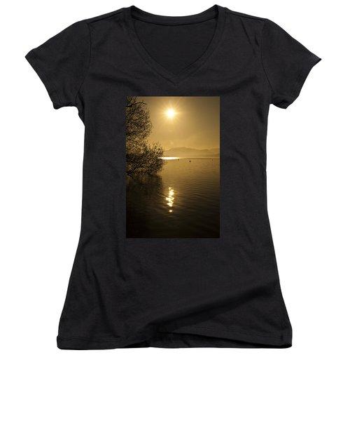 Golden Ullswater Evening Women's V-Neck T-Shirt (Junior Cut) by Meirion Matthias