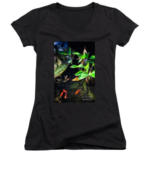 Women's V-Neck T-Shirt (Junior Cut) featuring the photograph Goldfish In Pond by Silvia Ganora