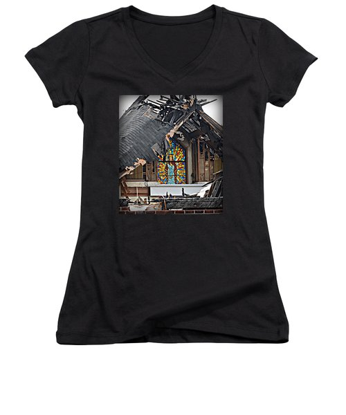 Good Lord Women's V-Neck T-Shirt (Junior Cut) by Ally  White